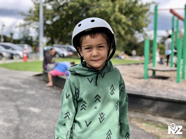 Young boy with skating helmet