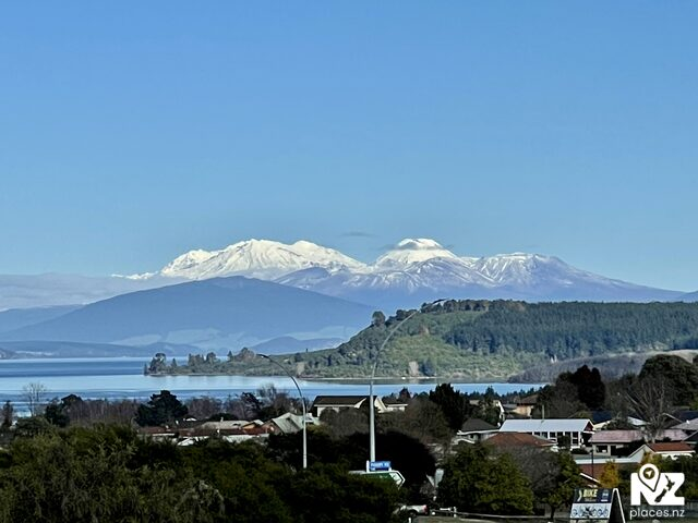 View of the lake and Mt Ruapehu